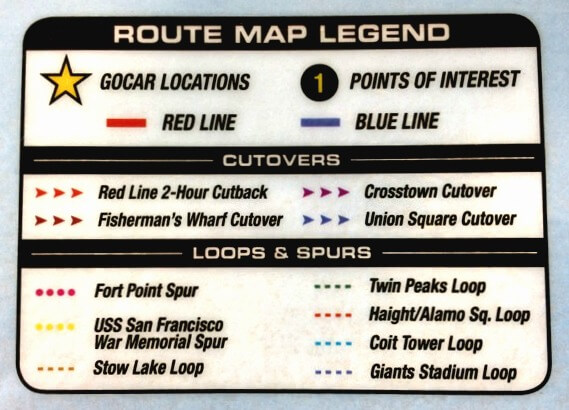 route map legend for san francisco go cars