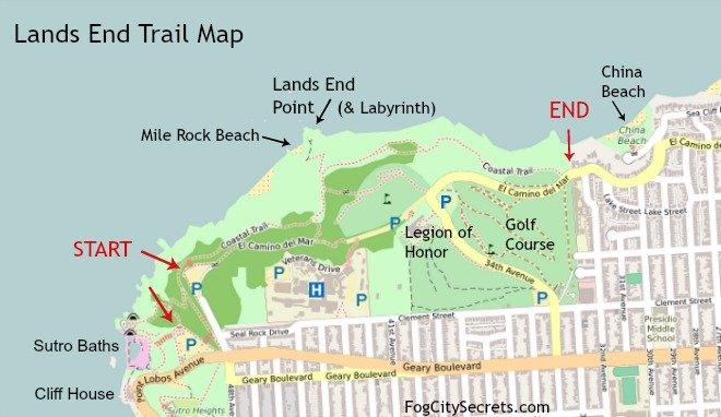 lands end trail map, san francisco