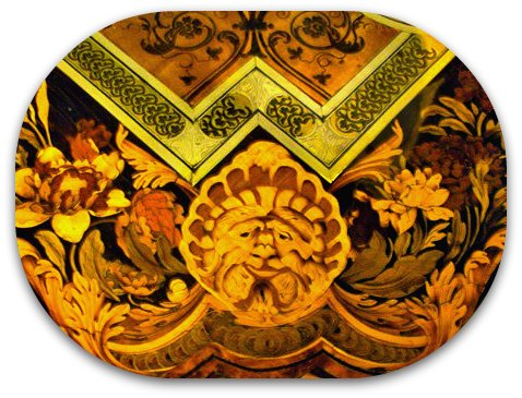 legion of honor san francisco, wood inlay, table