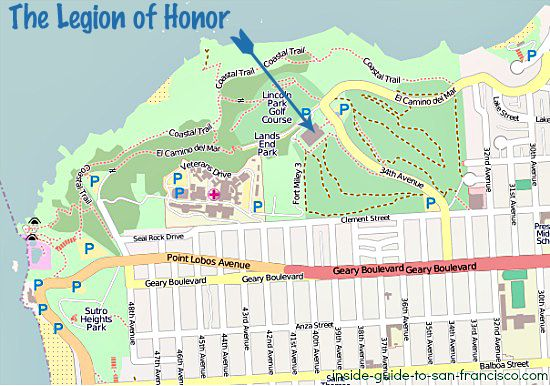 legion of honor san francisco map
