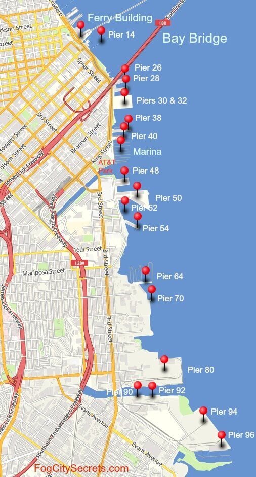 map of even-numbered piers, san francisco