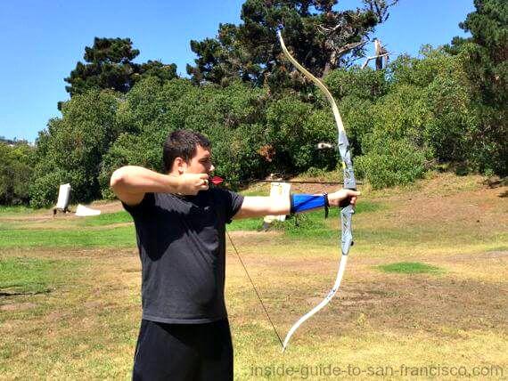 shooting arrow at golden gate park archery range