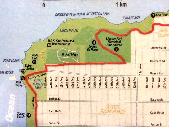 map of go car loop to war memorial and lands end