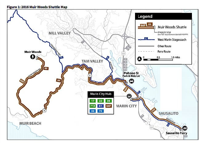 map of muir woods shuttle route