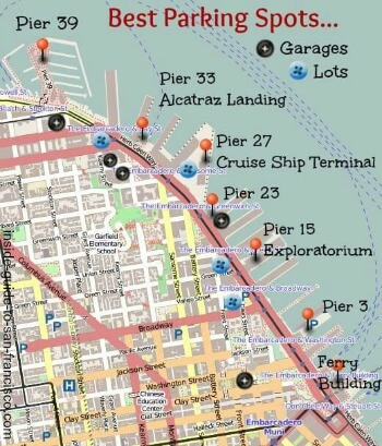 Small image of map of parking places along the Embarcadero in SF