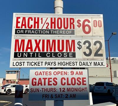 Parking fees sign at Fisherman's Wharf