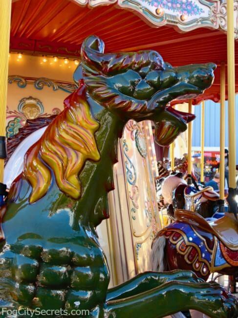 Head of sea dragon on Pier 39 carousel