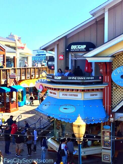View of Pier 39 shops with DOUGHP, the cookie-dough place