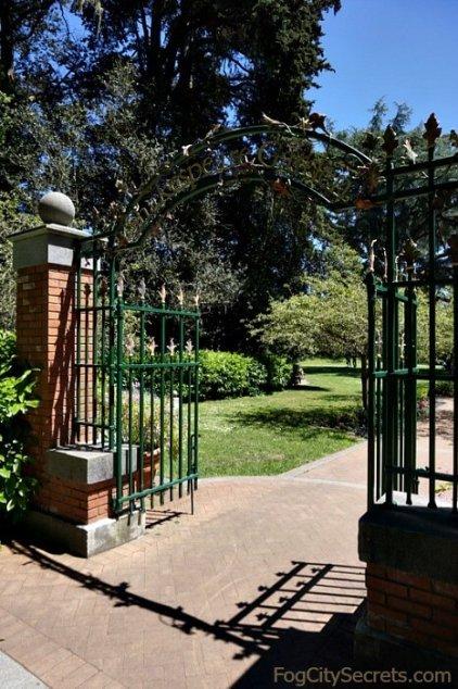 Metal arch at entrance to Shakespeare Garden, Golden Gate Park