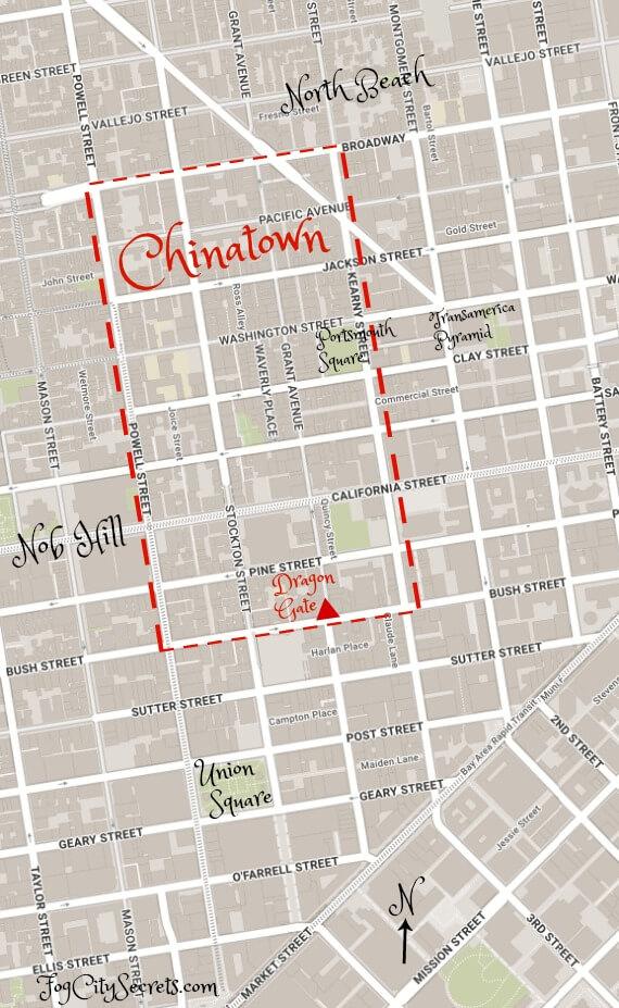 Map of Chinatown neighborhood, boundaries