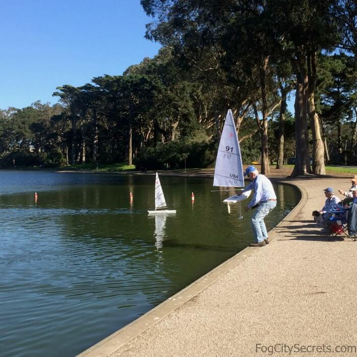 Sailing model yachts on Spreckels Lake in Golden Gate Park