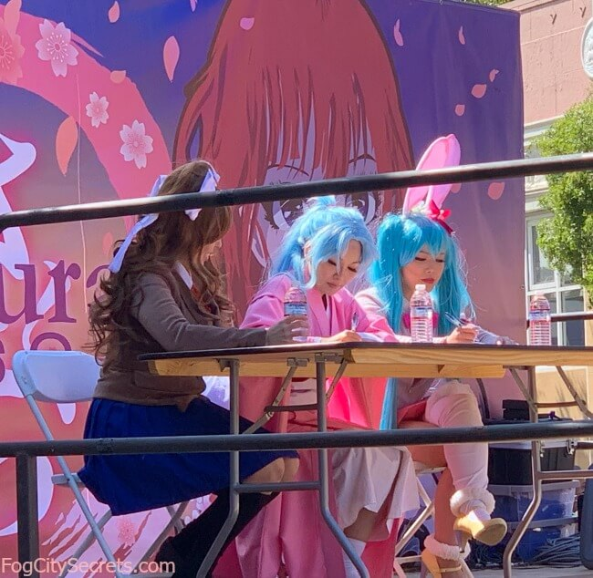 Cosplay judges in bunny costumes, SF Japantown Cherry Blossom Festival