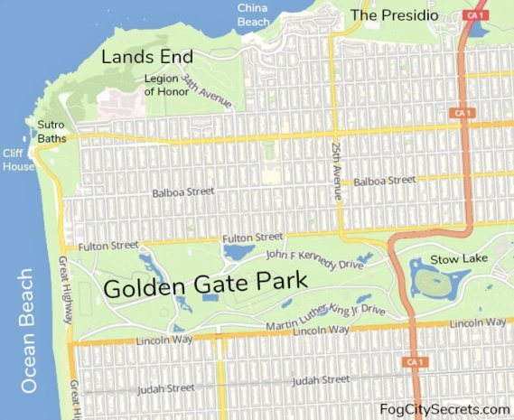 Map of western San Francisco showing points of interest near Golden Gate Park.