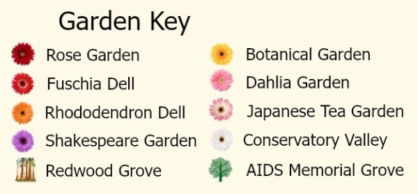 Map Key showing garden locations in Golden Gate Park