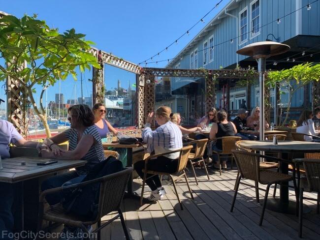 Patio at the Wines of California Wine Bar, at Pier 39, San Francisco