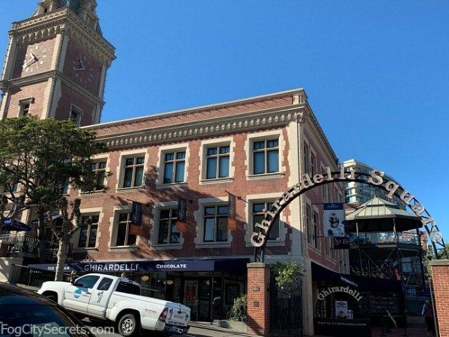 Ghirardelli Square entrance archway and Clock Tower Building