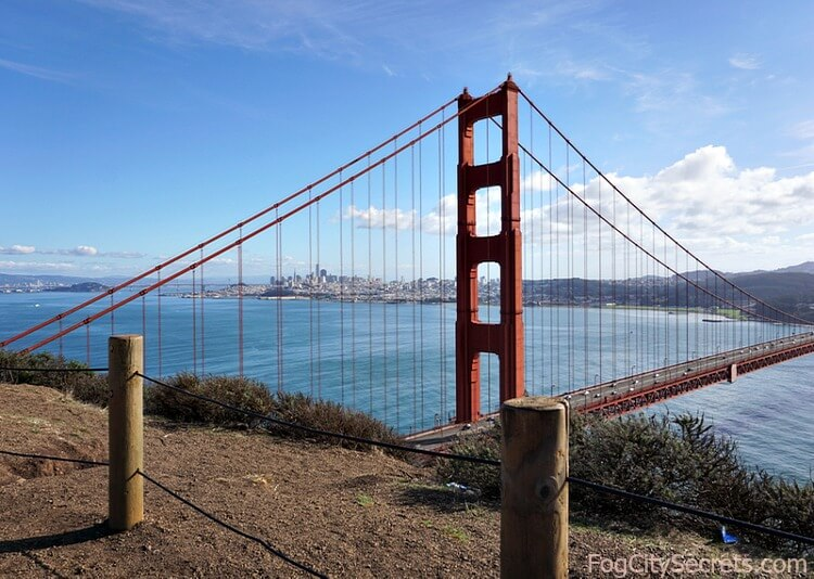 View of Golden Gate Bridge and SF from Battery Spencer