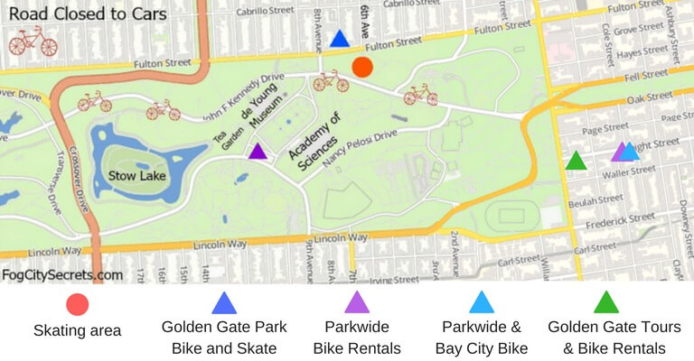 Map of Golden Gate Park showing locations of bike rentals.