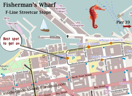 Map of Best Trolley Stop, Fisherman's Wharf