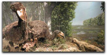 Giant bird with hyenas, academy of sciences diorama