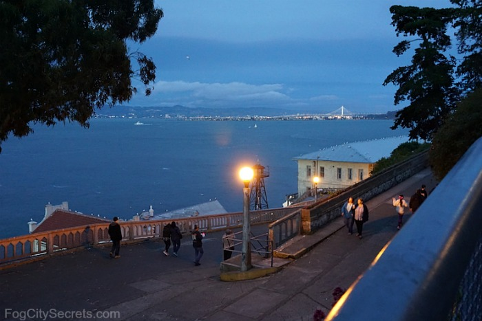Alcatraz at night, ramp down from cellblock