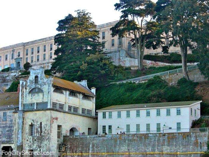 View of Alcatraz cellblock on bay cruise