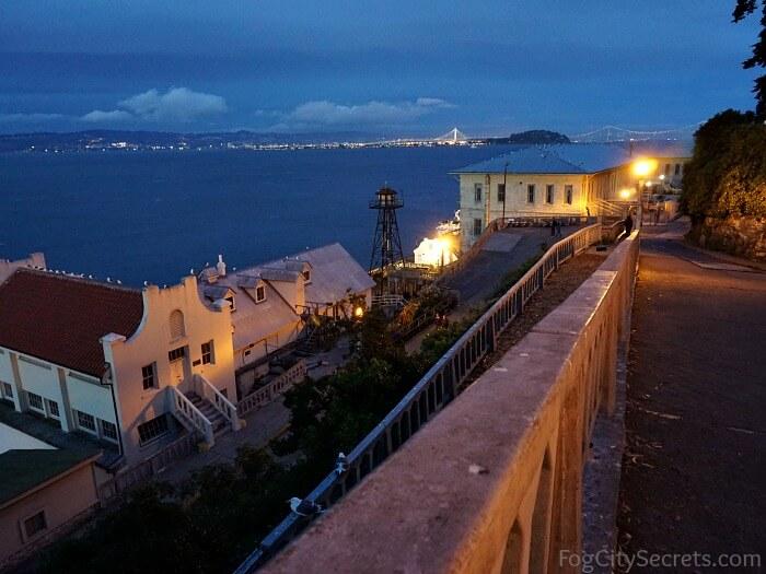 Alcatraz night tour, view of SF Bay