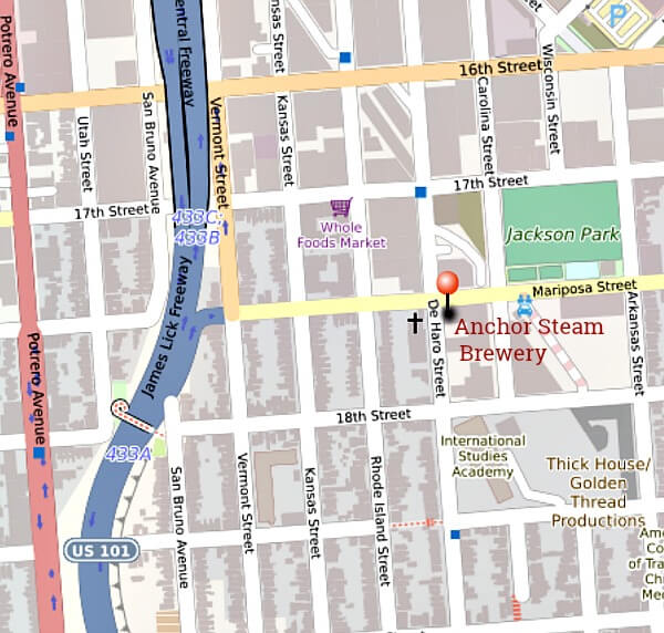Map of Anchor Steam Brewery