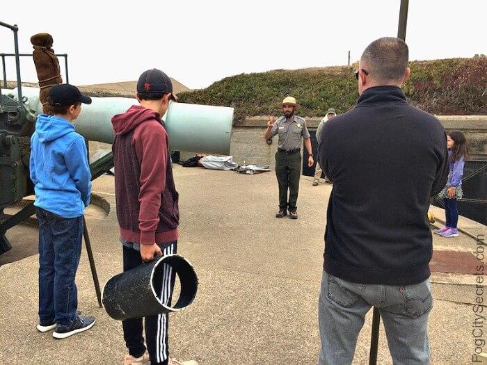 Demonstration of Battery Chamberlin's gun firing sequence, Baker Beach.