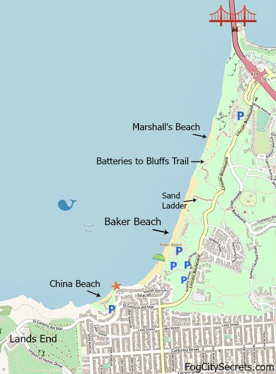 Map of Baker Beach, China Beach, Marshall's Beach in SF
