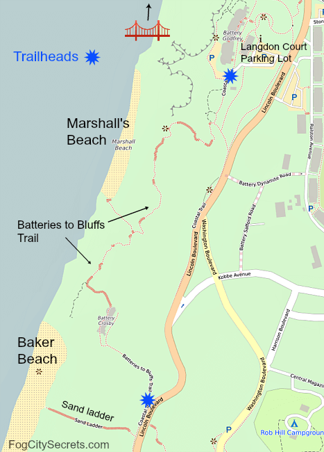 Map of the Batteries to Bluffs trail and Marshall's Beach in San Francisco