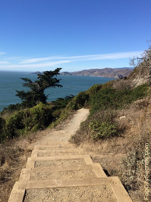 Stairs and dirt pathway on the Batteries to Bluffs trail in SF