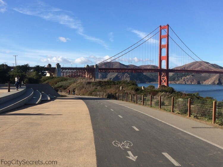 Bike path on Battery East Trail and the Golden Gate Bridge