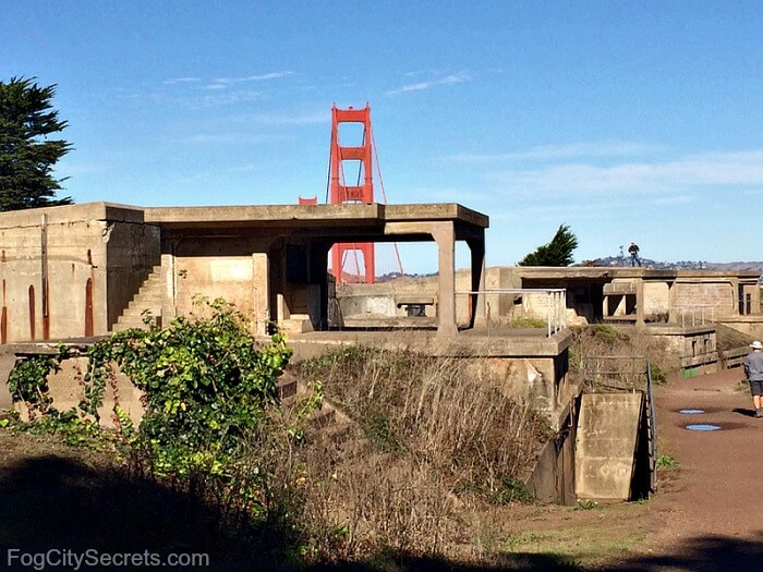 Battery Spencer ruins and Golden Gate Bridge