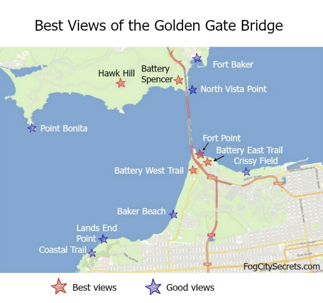 Map showing locations of the best views of the golden Gate Bridge