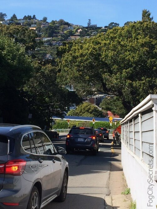 Steep hill entering Sausalito