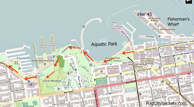 Map of bike route to Golden Gate Bridge, from Fisherman's Wharf through Fort Mason