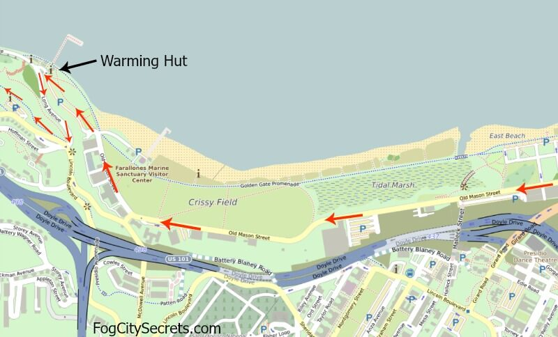 Map of bike route to Golden Gate Bridge, past Crissy Field to Warming Hut