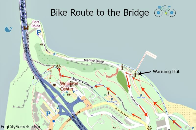 Map of bike route to Golden Gate Bridge, from the Warming Hut to the bridge entrance