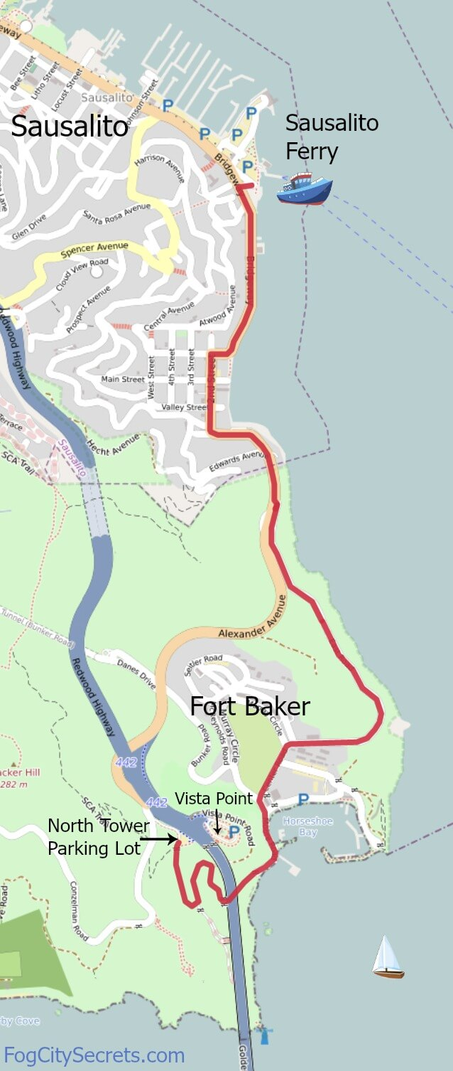 Map of bike route from Golden Gate Bridge to Sausalito