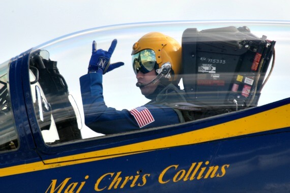 Blue Angels pilot, Major Chris Collins, in plane ready for take off.