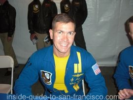 Major Chris Collins, Blue Angels pilot, signing autographs at SF Fleet Week.