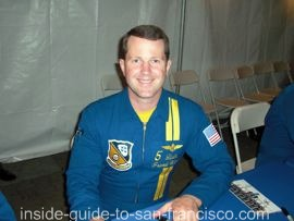 LCDR Frank Weisser, Blue Angels pilot, signing autographs at SF Fleet Week.