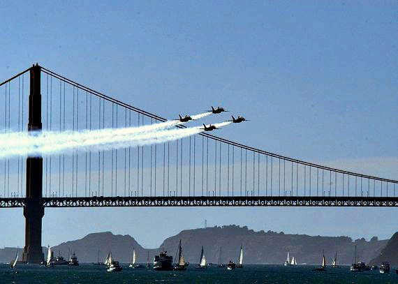 Blue Angels flying over the Golden Gate Bridge