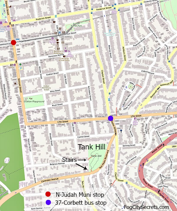 Map of bus and Muni stops for Tank Hill