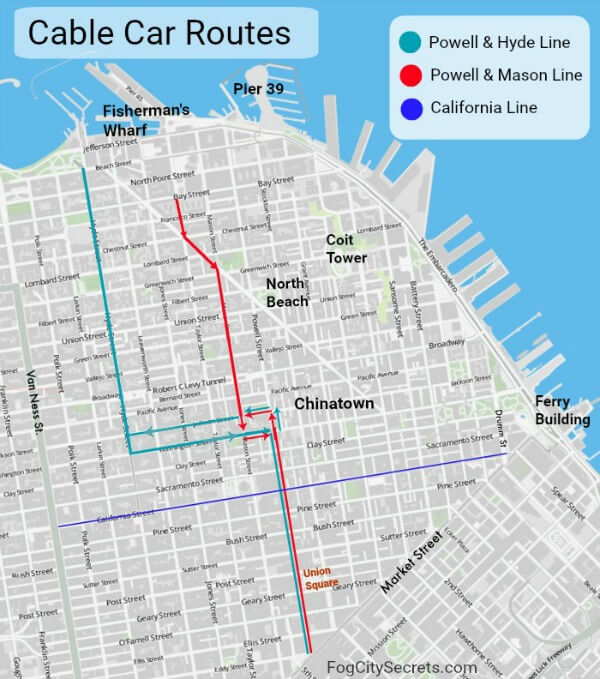 San Francisco cable car route map