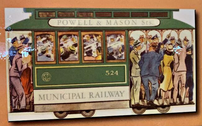 Vintage postcard circa 1947 of people riding a San Francisco cable car
