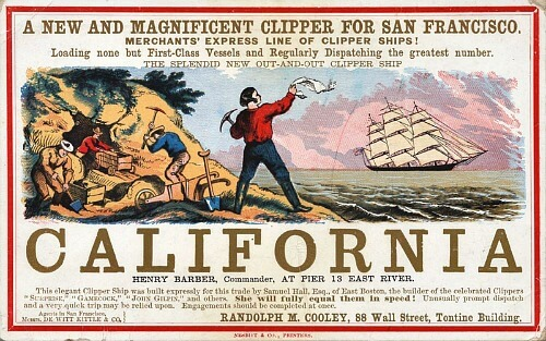 Poster for California Clipper, ship to the Gold Rush