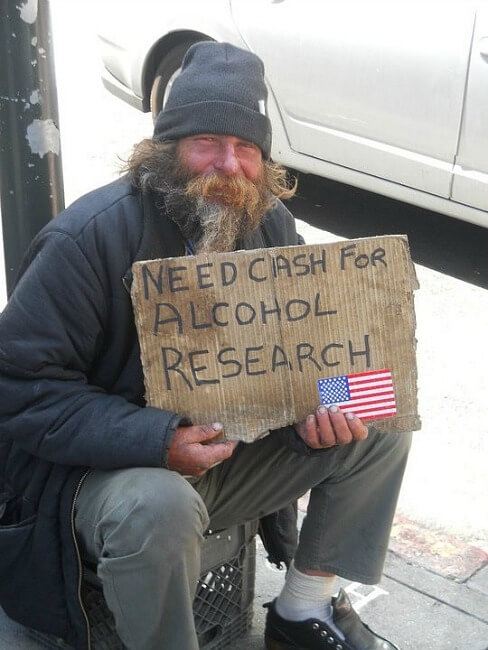 Homeless man in San Francisco begging