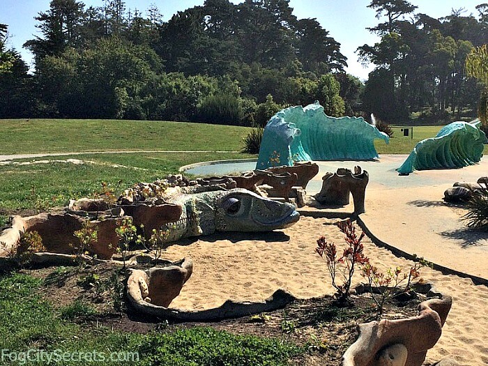 Reptile and blue waves at Koret Children's Playgorund, Golden Gate Park